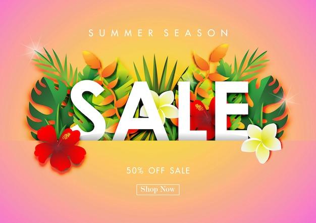 Fondo di vendita di estate con arte di carta di design tropicale