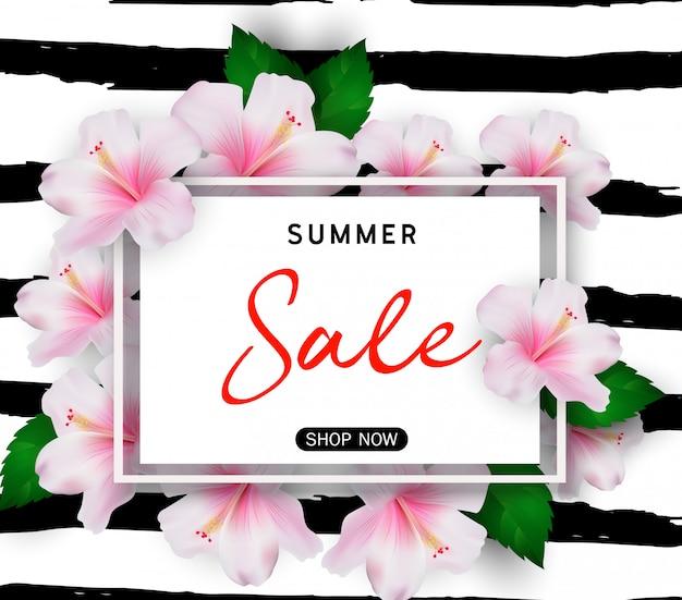 Fondo di vendita di estate con i fiori tropicali