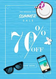 Fondo di vendita di estate con il vettore degli accessori di estate