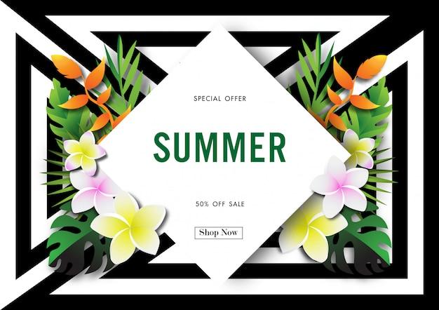 Fondo di vendita di estate con il vettore di progettazione tropicale
