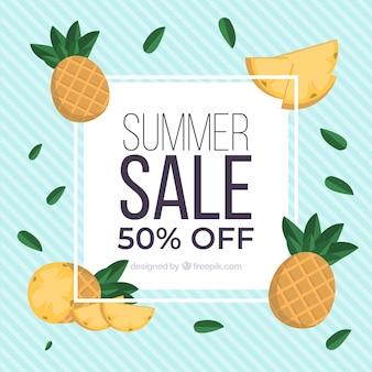Fondo di vendita di estate con l'ananas