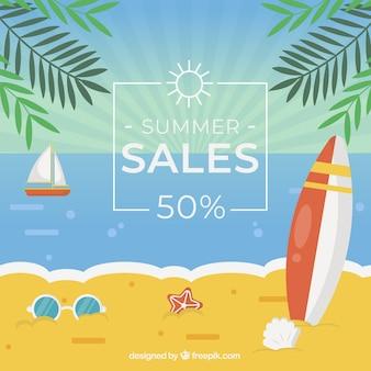 Fondo di vendita di estate con spiaggia in stile piano