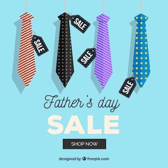 Fondo di vendita di festa del papà con diversi legami