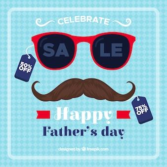 Fondo di vendita di festa del papà con occhiali da sole e baffi
