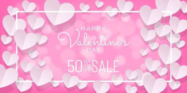 Fondo di vendita di giorno di san valentino con taglio di carta, stile di arte di carta