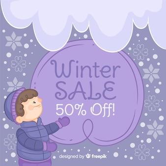 Fondo di vendita di inverno del bambino disegnato a mano