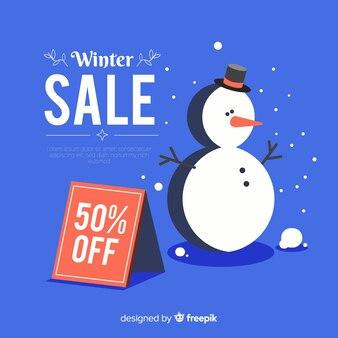 Fondo di vendita di inverno del pupazzo di neve piatto