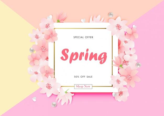 Fondo di vendita di primavera con vettore di fiore di ciliegio