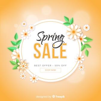 Fondo di vendita di primavera floreale piatta
