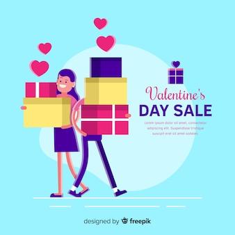 Fondo di vendita di san valentino coppia piatta