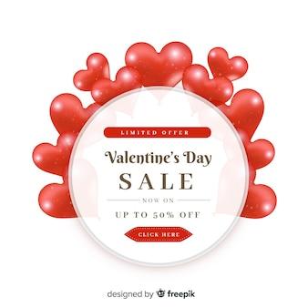 Fondo di vendita di san valentino del cerchio del cuore