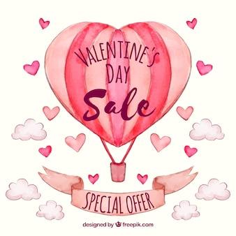 Fondo di vendita di san valentino dell'acquerello