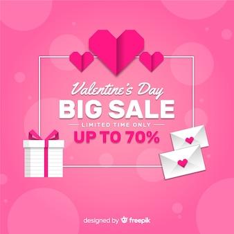 Fondo di vendita di san valentino di busta e regalo piatto