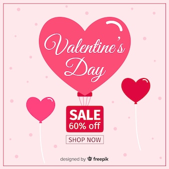 Fondo di vendita di san valentino in mongolfiera