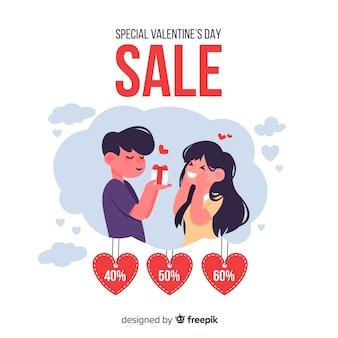 Fondo di vendita di san valentino piatto