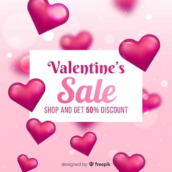 Fondo di vendita di san valentino realistico