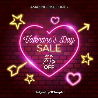 Fondo di vendita di san valentino segno al neon