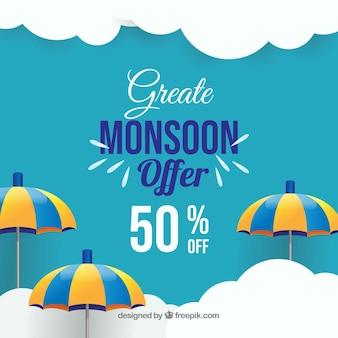 Fondo di vendita di stagione dei monsoni con gli ombrelli