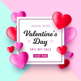 Fondo di vendita realistica di san valentino