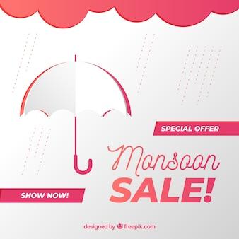Fondo di vendite di monsone con gli ombrelli