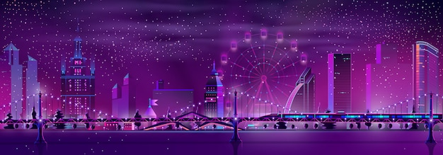 Fondo di vettore del paesaggio di inverno della città di notte