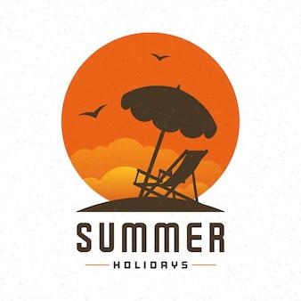 Fondo di vettore di estate della sedia di chaise longue e della spiaggia.