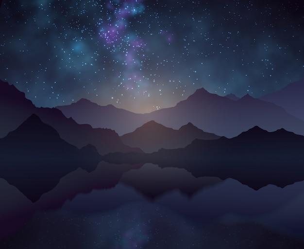 Fondo di vettore di notte della natura con cielo stellato, montagne e superficie dell'acqua