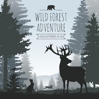 Fondo di vettore nebbioso della foresta di conifere della fauna selvatica con le siluette degli alberi e degli animali di pini