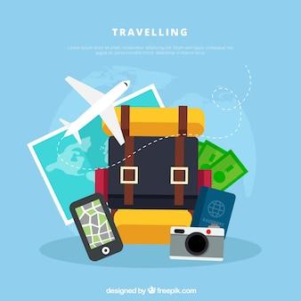 Fondo di viaggio con bagagli in stile piano