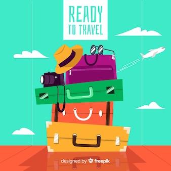 Fondo di viaggio del mucchio dei bagagli