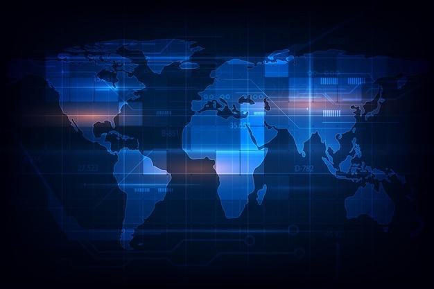 Fondo digitale astratto dell'innovazione di tecnologia del modello di struttura della mappa di mondo