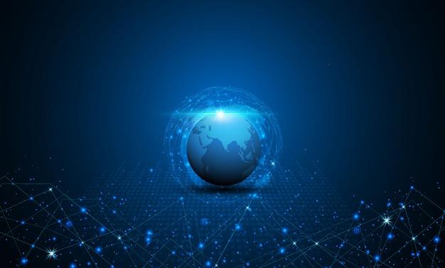 Fondo digitale di concetto dell'innovazione di tecnologia del modello di struttura della mappa di mondo astratta
