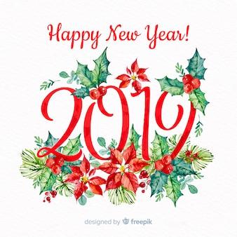 Fondo dipinto a mano del nuovo anno del vischio