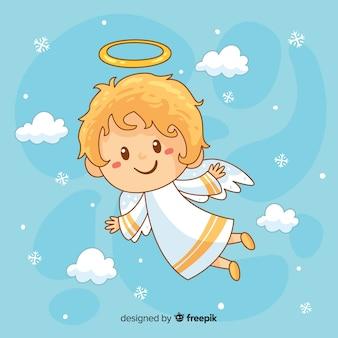 Fondo disegnato a mano adorabile di angelo di natale