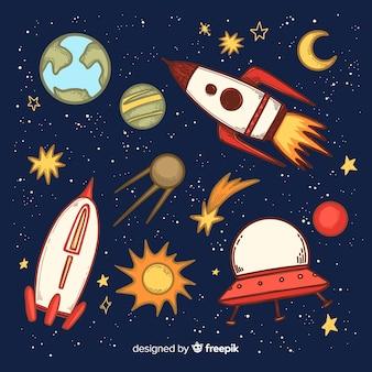 Fondo disegnato a mano bella astronave
