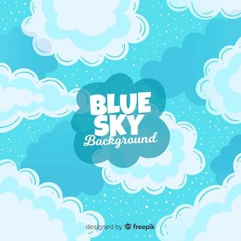 Fondo disegnato a mano del cielo blu