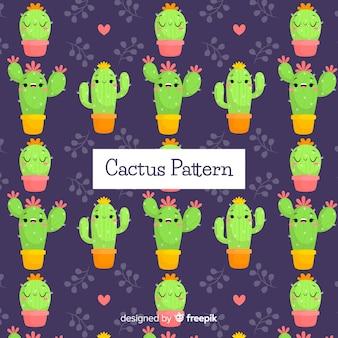 Fondo disegnato a mano del modello del cactus