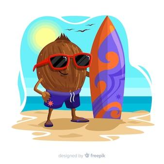 Fondo disegnato a mano del ragazzo della noce di cocco