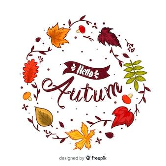 Fondo disegnato a mano dell'iscrizione di autunno di ciao