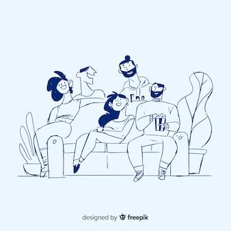 Fondo disegnato a mano della gente a casa