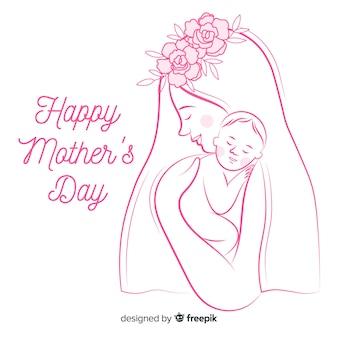 Fondo disegnato a mano della madre e del bambino di festa della mamma