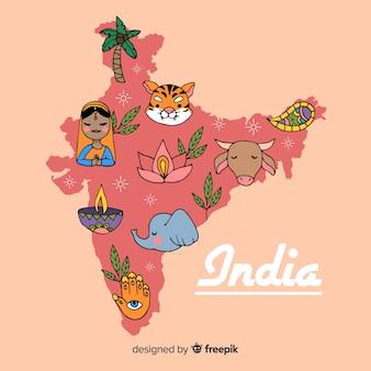 Fondo disegnato a mano della mappa dell'india