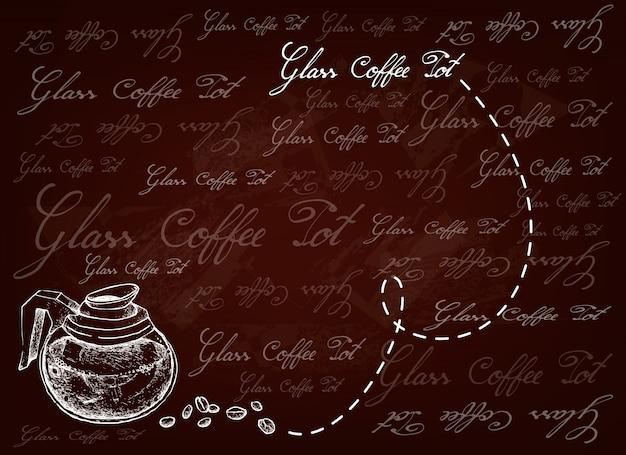 Fondo disegnato a mano della pentola di vetro con i chicchi di caffè