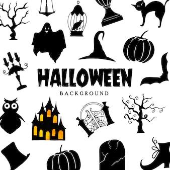 Fondo disegnato a mano della raccolta degli elementi di halloween