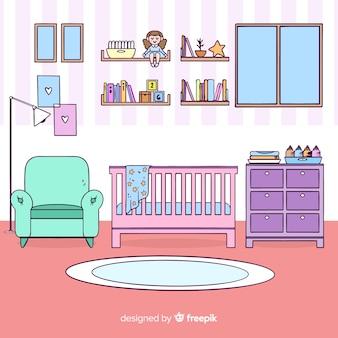 Fondo disegnato a mano della stanza del bambino