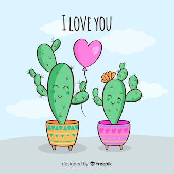 Fondo disegnato a mano delle coppie del cactus