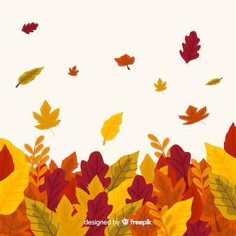 Fondo disegnato a mano delle foglie di autunno