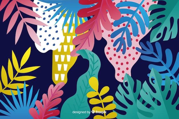 Fondo disegnato a mano delle piante tropicali