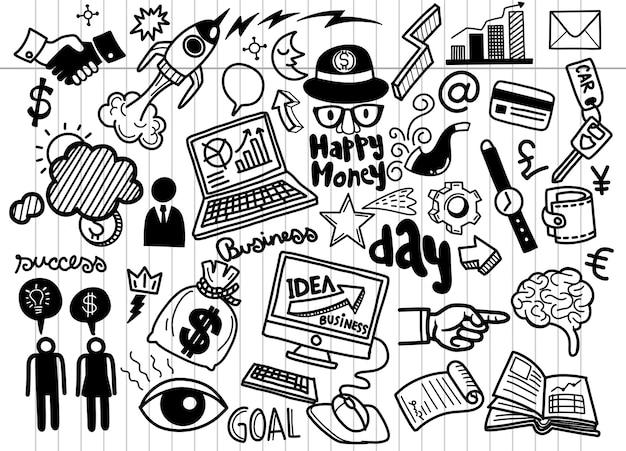 Fondo disegnato a mano di affari, se delle icone di scarabocchi di idea di affari, illustrazione di scarabocchi.