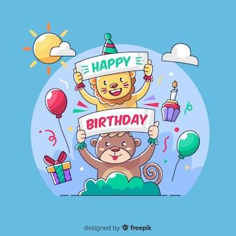 Fondo disegnato a mano di compleanno animale